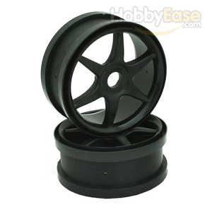 Black 6 Spoke Wheels 1 Pair