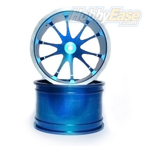 Blue Aluminum 10 Spoke Wheels 1 Pair(1/8 Truck)