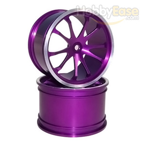 Purple Aluminum 10 Spoke Wheels 1 Pair(1/8 Truck)
