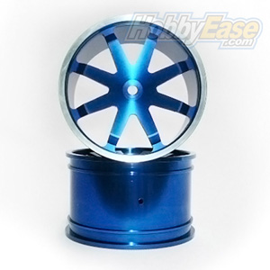 Blue Aluminum 8 Spoke Wheels 1 Pair(1/8 Truck)