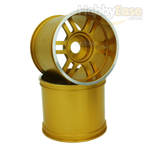 Golden Aluminum 6 Double Spoke Wheels 1 Pair(1/8 Truck)