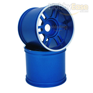 Blue Aluminum 6 Double Spoke Wheels 1 Pair(1/8 Truck)e Aluminum 6 Double Spoke Wheels 1 Pair(1/8 Truck)
