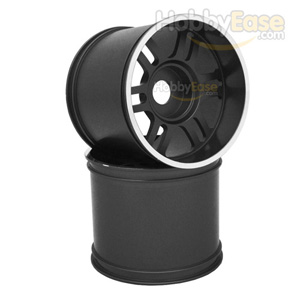 Black Aluminum 6 Double Spoke Wheels 1 Pair(1/8 Truck)