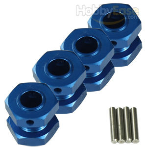 Blue Aluminum 1/8 Wheel Adaptors with Wheel Stopper Nuts