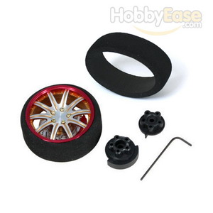 Golden colour red flange Aluminum Pistol Transmitter Steering Wheel[10 spoke]