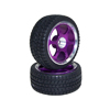 Purple 6-spoke Aluminum Wheels + Parallel-groove (w/ bars) Tires 1 pair(1/10 Car)