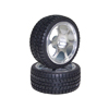 Silver 6-spoke Aluminum Wheels + Parallel-groove (w/ bars) Tires 1 pair(1/10 Car) [811418S]