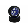 Blue 6-spoke Aluminum Wheels + Arrowhead-groove Tires 1 pair(1/10 Car)