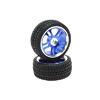 Blue 5 Dual-spoke Aluminum Wheels + Parallel-groove (w/ bars) Tires 1 pair(1/10 Car)