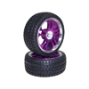 Purple 5 Dual-spoke Aluminum Wheels + Parallel-groove (w/ bars) Tires 1 pair(1/10 Car)