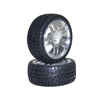 Silver 5 Dual-spoke Aluminum Wheels + Parallel-groove (w/ bars) Tires 1 pair(1/10 Car)