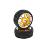 Golden 6 Dual-spoke Aluminum Wheels + Parallel-groove (w/ waved bars) Tires 1 pair(1/10 Car)