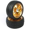 Golden 6 Dual-spoke Aluminum Wheels + Parallel-groove (w/ bars) Tires 1 pair(1/10 Car)