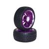 Purple 6 Dual-spoke Aluminum Wheels + Parallel-groove (w/ bars) Tires 1 pair(1/10 Car)