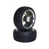 TitaniumColor 6 Dual-spoke Aluminum Wheels + Parallel-groove (w/ bars) Tires 1 pair(1/10 Car)