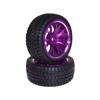 Purple 7-Y-spoke Aluminum Offset Wheels(3°) + Parallel-groove (w/ bars) Tires 1 pair(1/10 Car)