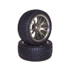 TitaniumColor 7-Y-spoke Aluminum Offset Wheels(3°) + Parallel-groove (w/ bars) Tires 1 pair(1/10 Car)