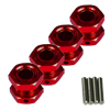 Red Aluminum 1/8 Wheel Adaptors with Wheel Stopper Nuts