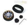Blue colour golden flange Aluminum Pistol Transmitter Steering Wheel[10 spoke]